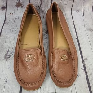 Coach Tan Leather Loafer Flat Shoes size 8 B